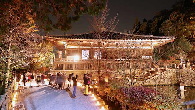 播州清水寺「千燈会」と紅葉のライトアップ