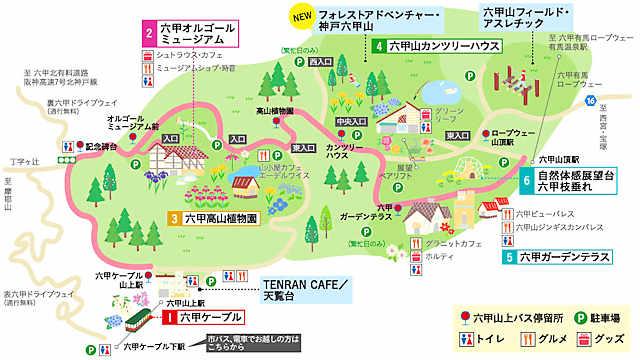 六甲山上施設の案内地図