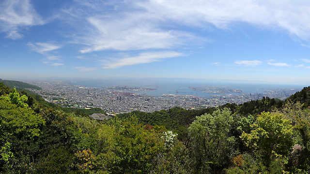 摩耶山掬星台の展望台からの風景