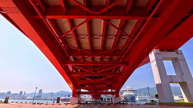 神戸大橋の橋脚と豪華客船ダイヤモンドプリンセス(DIAMOND PRINCESS)
