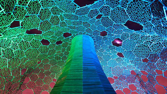 自然体感展望台 六甲枝垂れのライトアップ