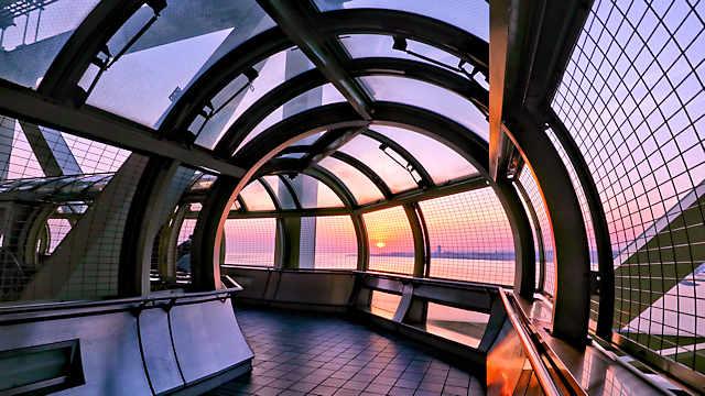 舞子海上プロムナードから見る夕日