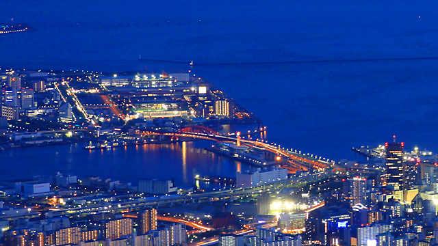 神戸大橋とポートアイランドの夜景