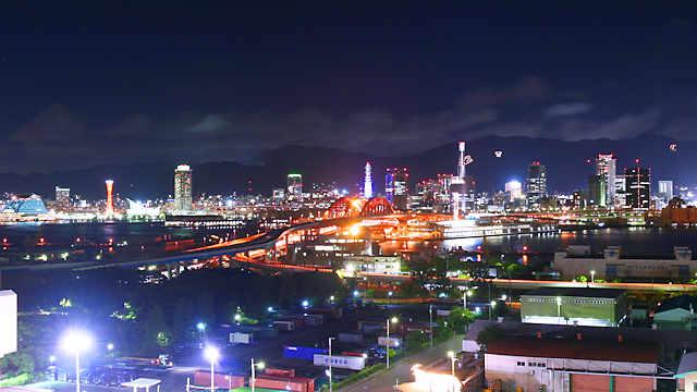 神戸大橋と神戸1000万ドルの夜景