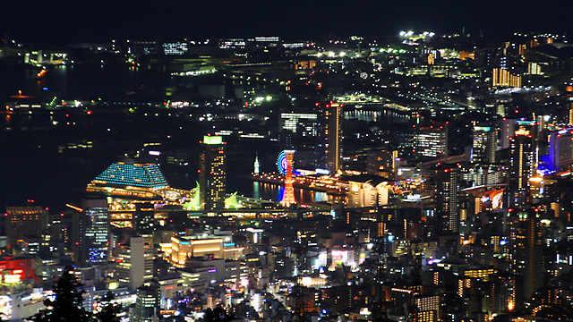 神戸メリケンパーク、ハーバーランド、三宮周辺の夜景