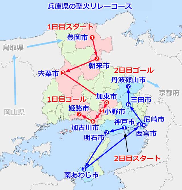 兵庫県の聖火リレーコース