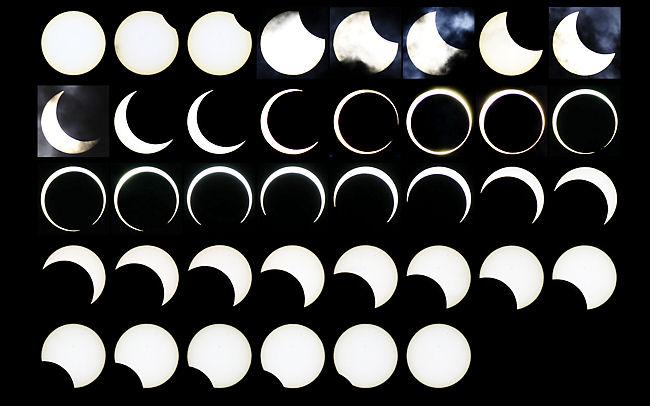 2012年に撮影した金環日食の連続写真