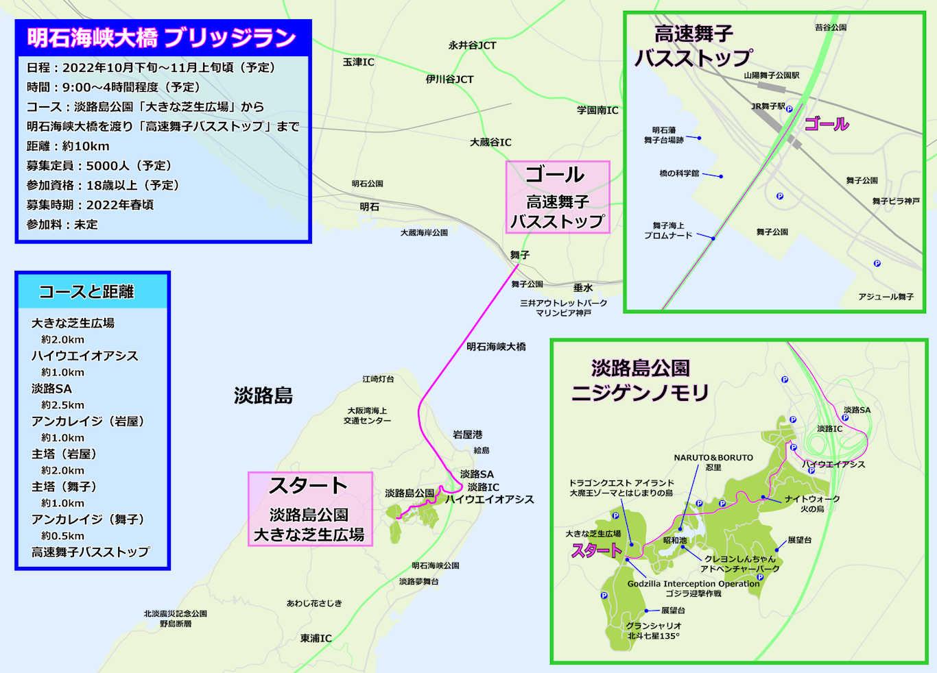 「明石海峡大橋ブリッジラン」コース地図