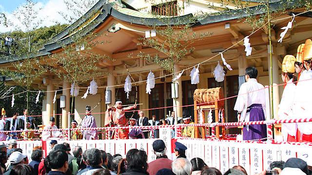 湊川神社の節分祭、お弓神事