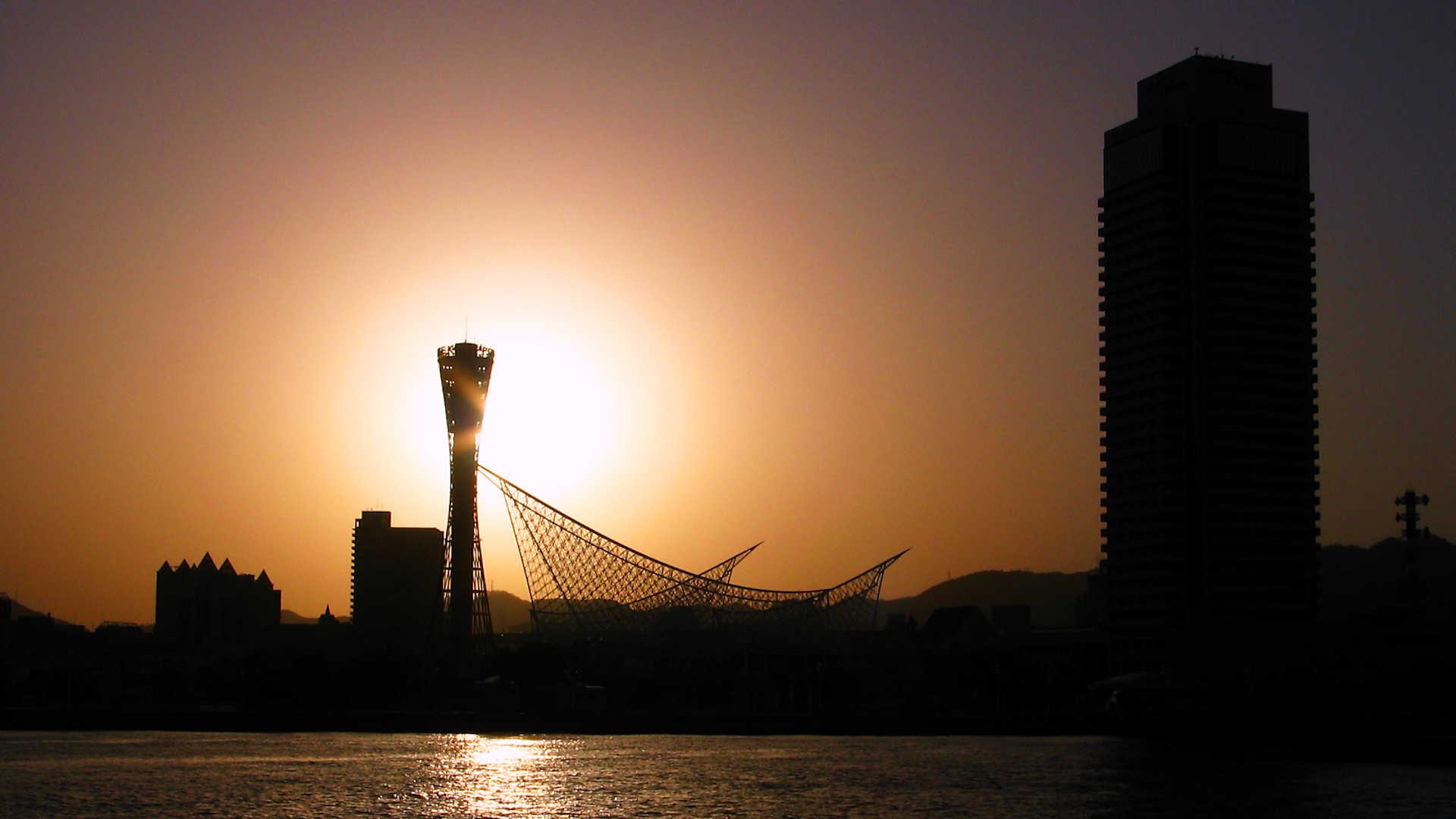 神戸ポートタワーの夕景 夕日 フルhd壁紙 1920x1080